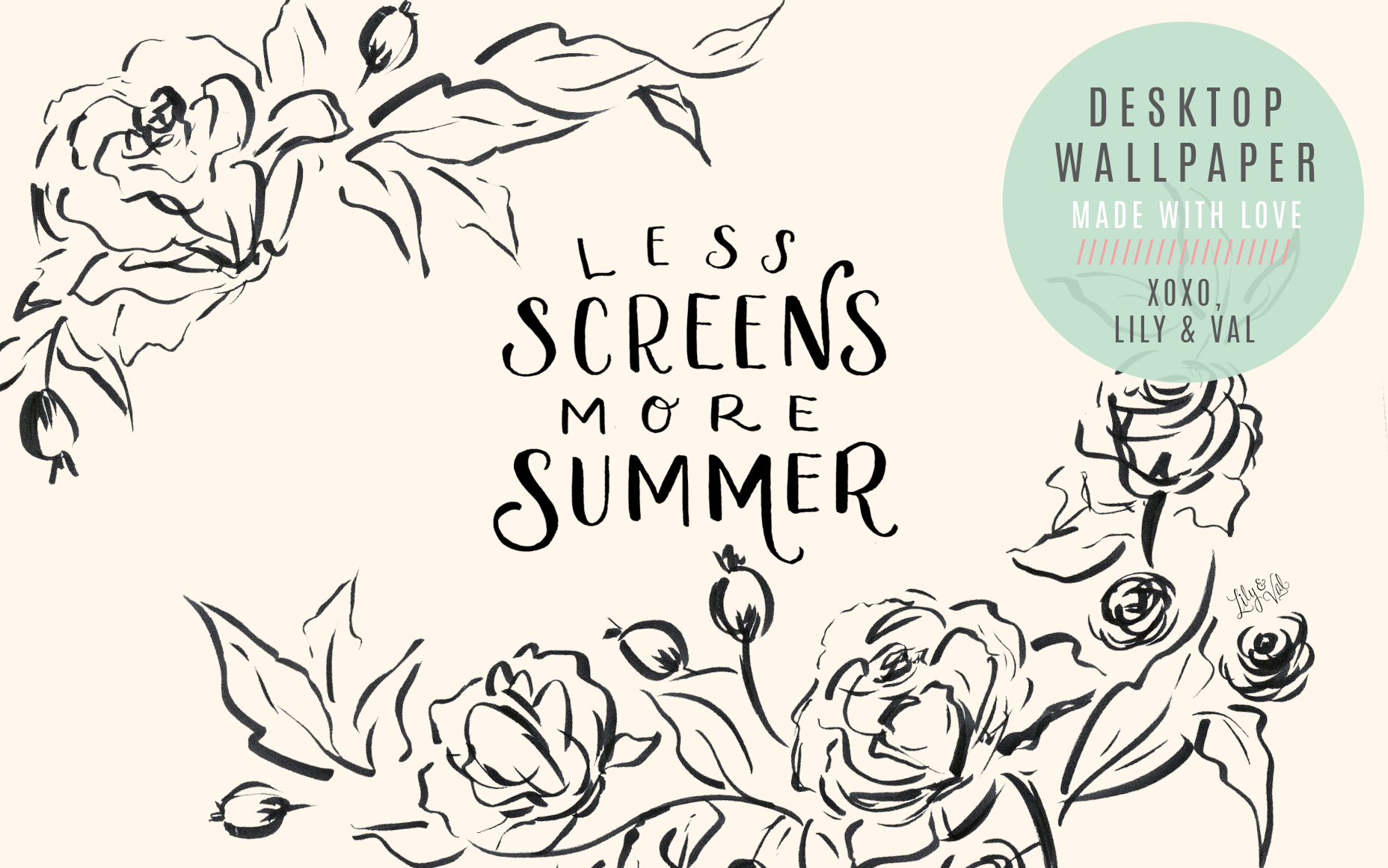 Free hand-drawn floral desktop background by Valerie McKeehan