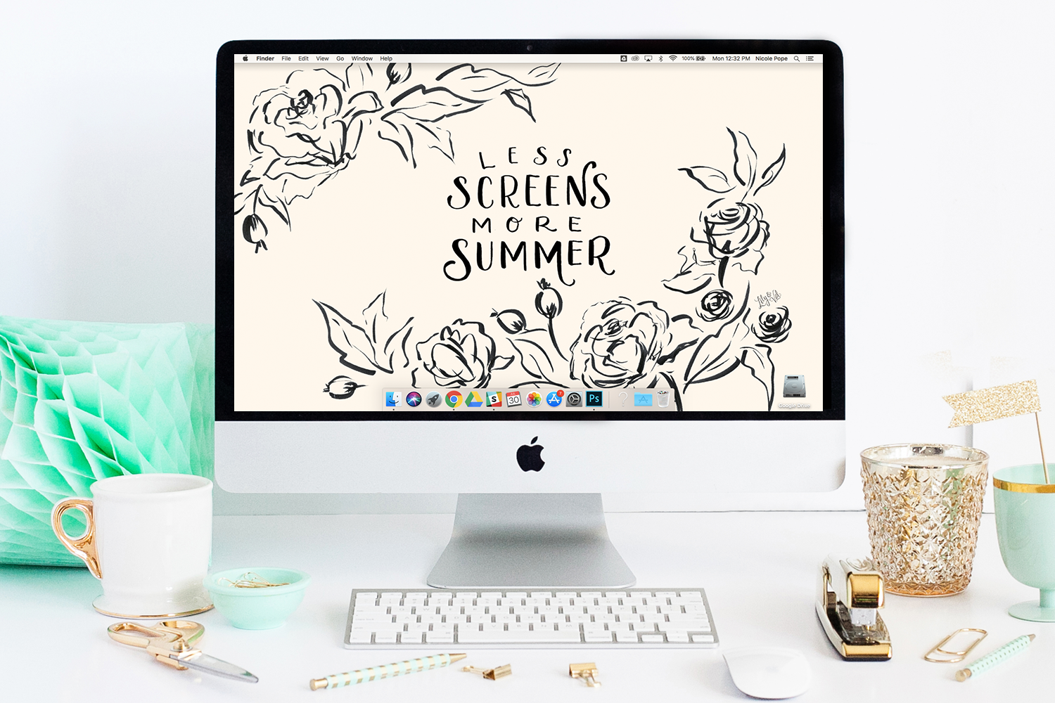 "Lily & Val's August Floral ""Less Screens, More Summer"" Desktop wallpaper download"