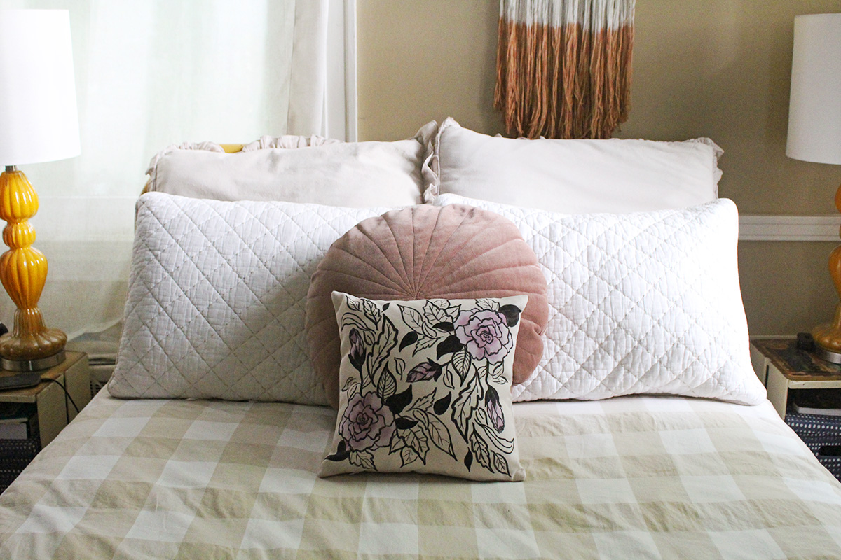 Little Hints of lavender in this handmade pillow add a nice touch of color in so many settings!