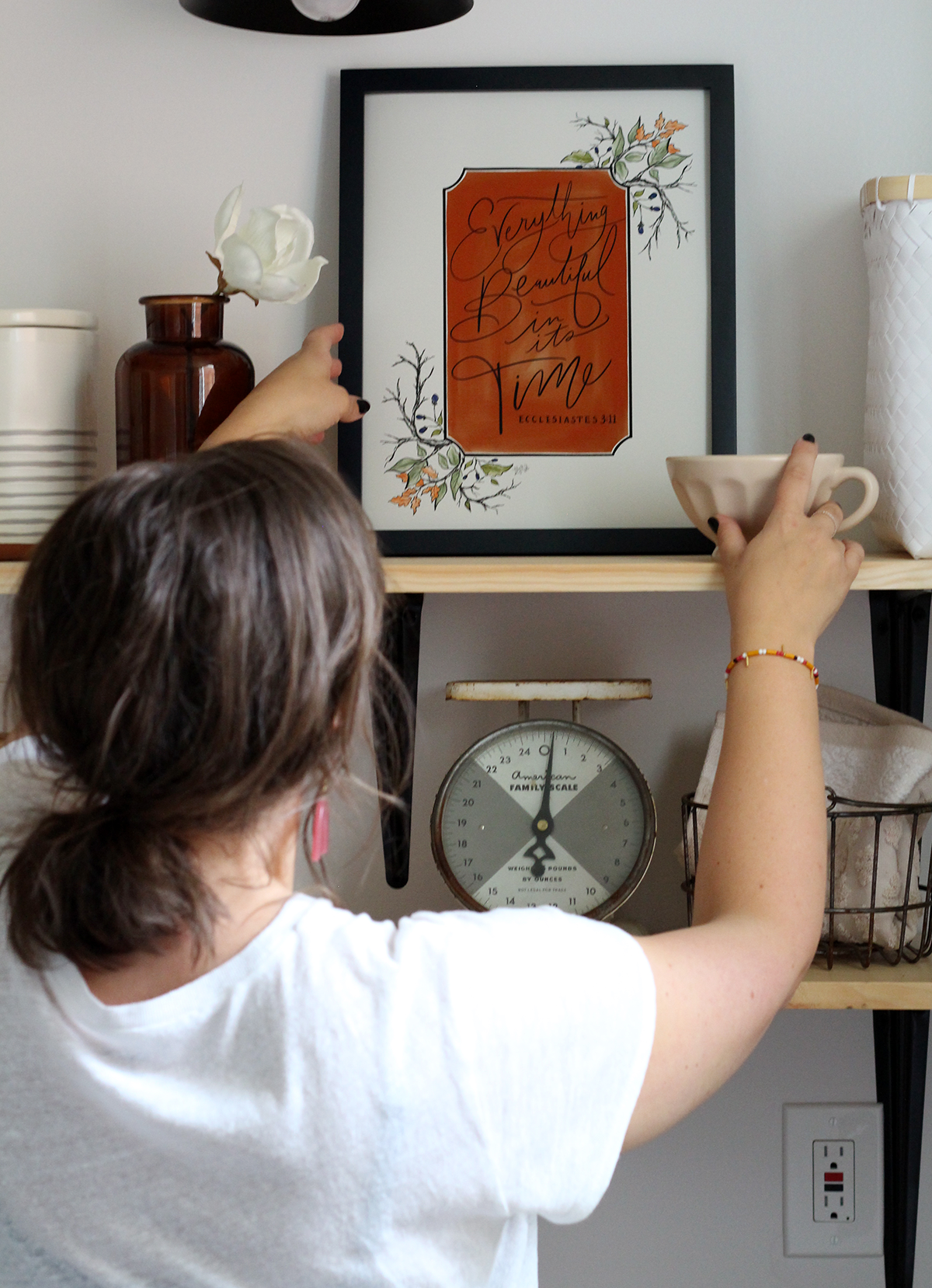 New Fall Print Sneak Peek! -How to Decorate Open Shelving- Kitchen edition!