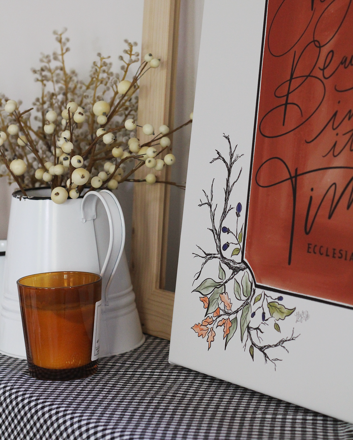 Fall botanical drawing | Everything Beautiful in its time scripture art