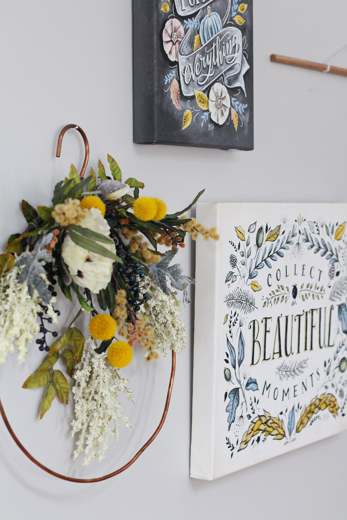 Lily & Val Canvas + a wreath displayed indoors makes for a lovely gallery wall