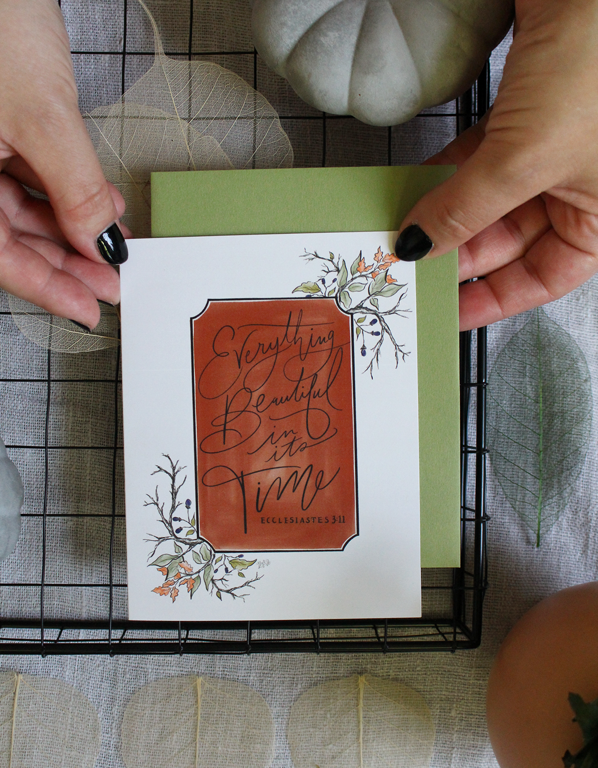 everything beautiful in its time hand lettered notecard