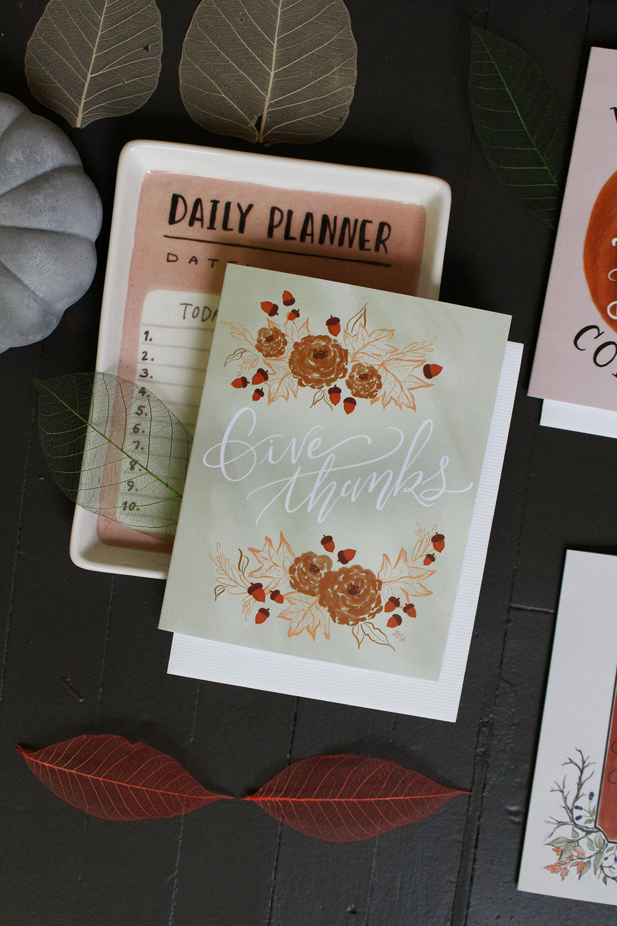 Give thanks hand lettered notecard