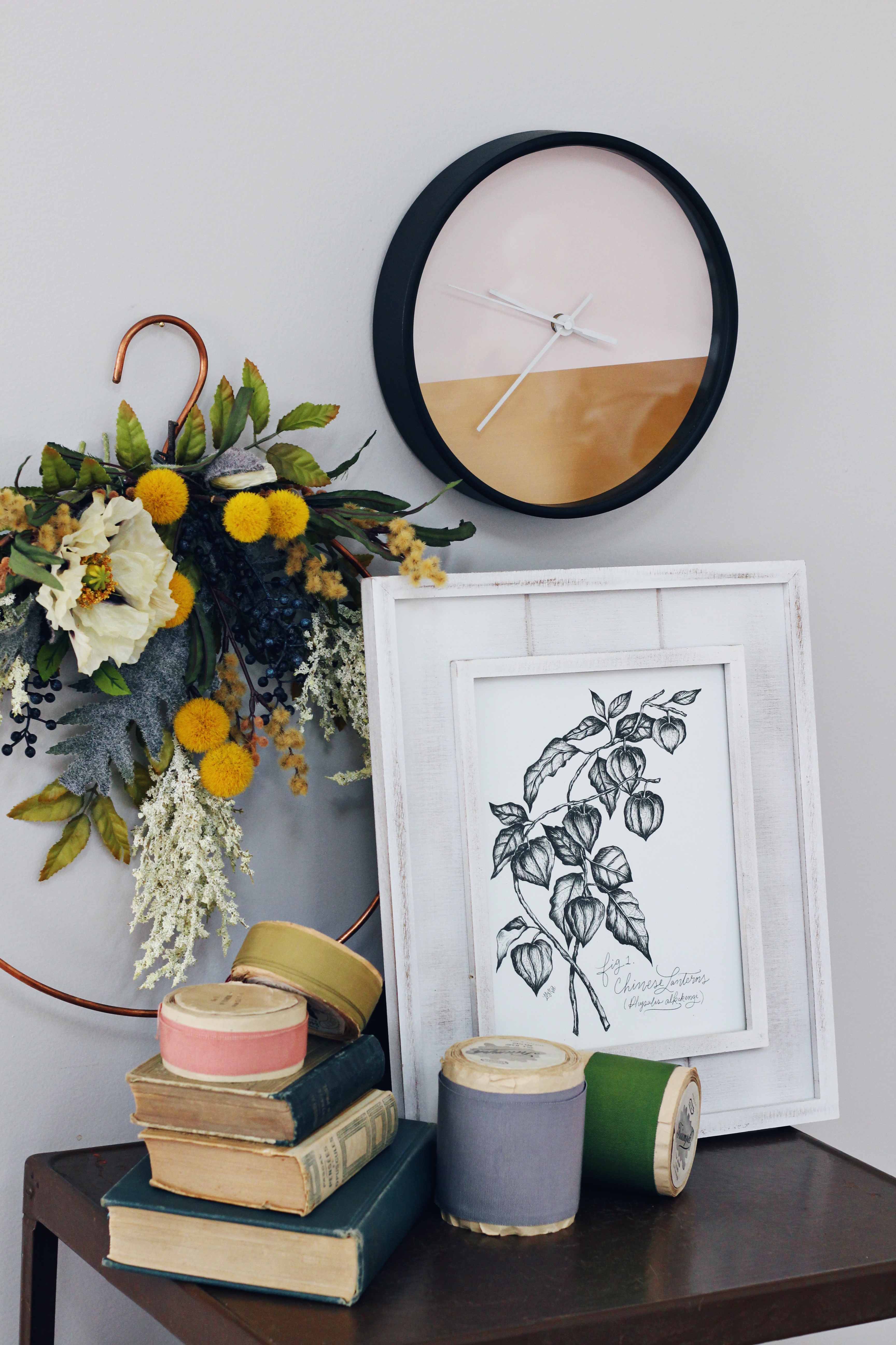Chinese Lantern Botanical art looks beautiful displayed with a Fall wreath