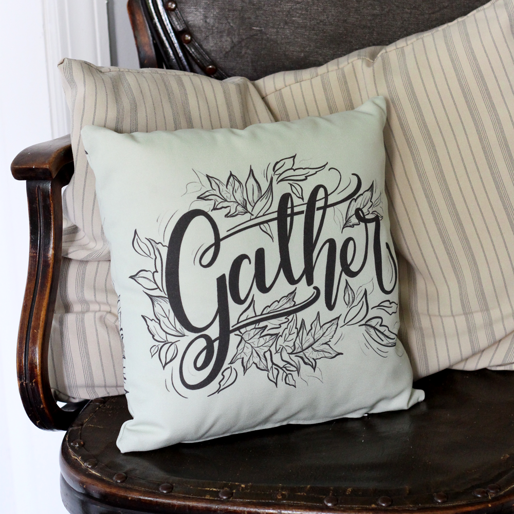 Gather Pillow with hand-drawn leaves for Fall