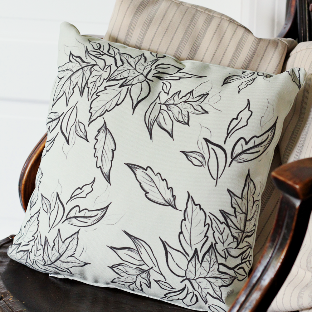 Gather handmade pillow with hand-drawn leaves for Fall