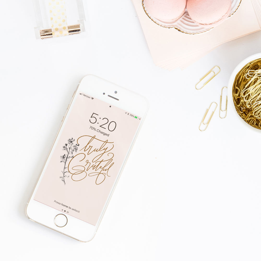 Free iPhone Wallpaper with hand-drawn floral and lettering