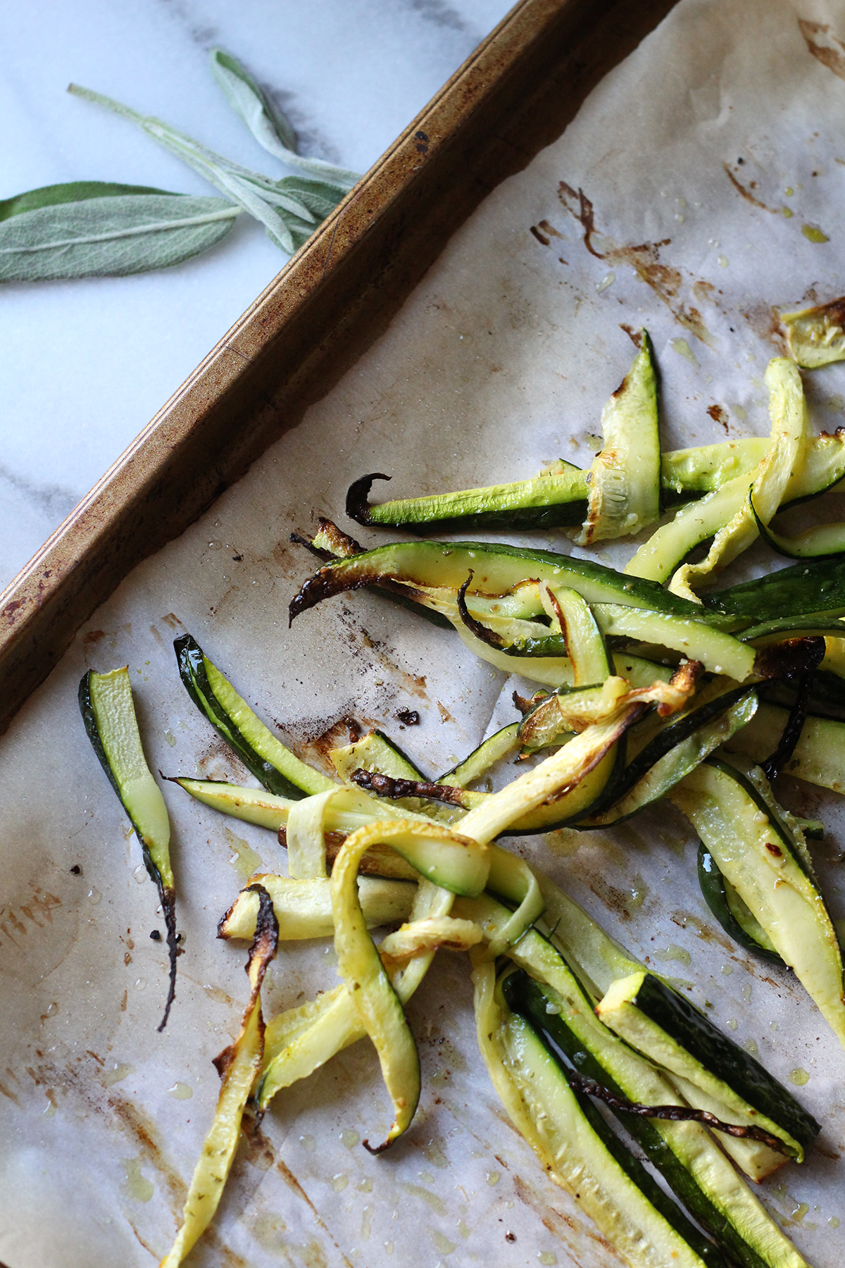 Super simple Roasted Zucchini Strips-perfect for topping or as a side