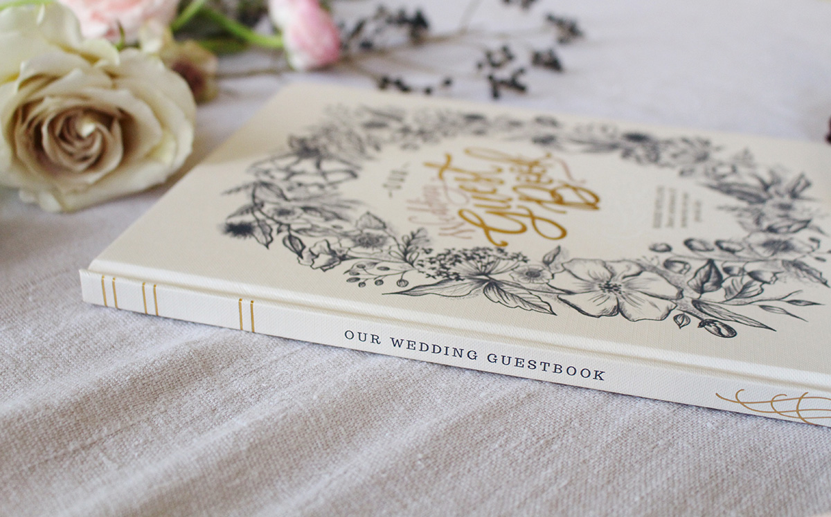 The Lily & Val Wedding Guestbook is an interactive, sentimental take on the traditional wedding guestbook featuring heartfelt prompts for your guests to fill out
