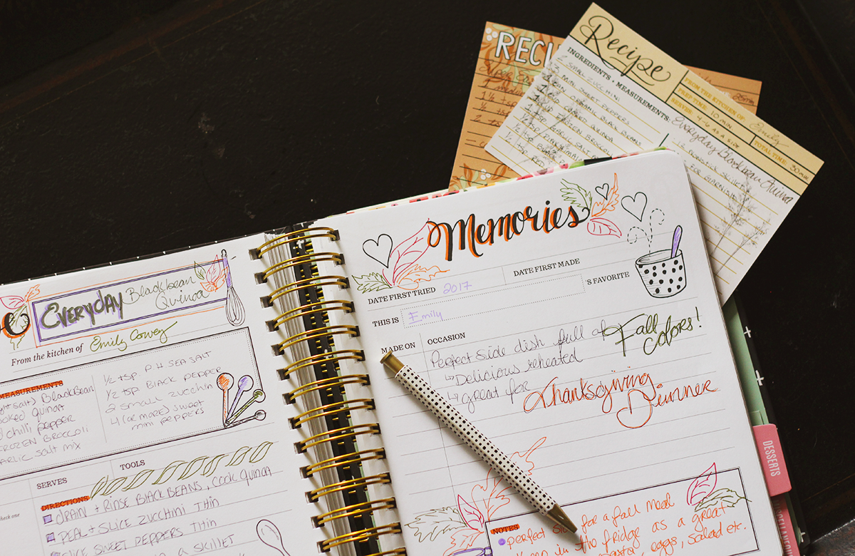 Start a family cookbook by filling out the pages of the Keepsake Kitchen Diary with your favorite recipes