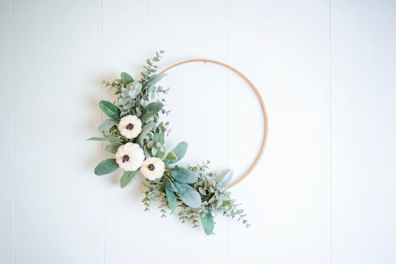 Chic Pumpkin Faux Floral Wreath