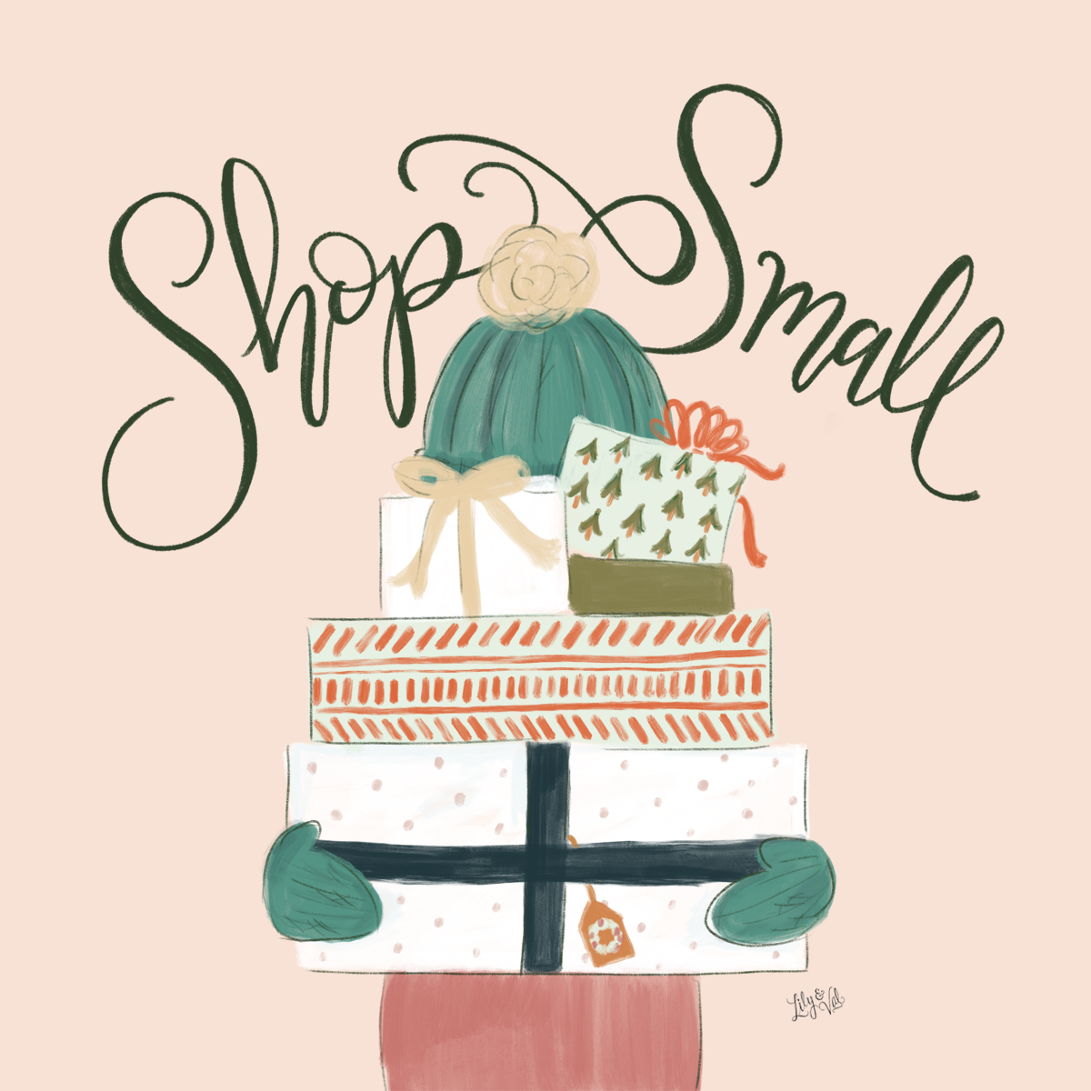 Free Hand-drawn Shop Small graphic to share the love on Small Business Saturday