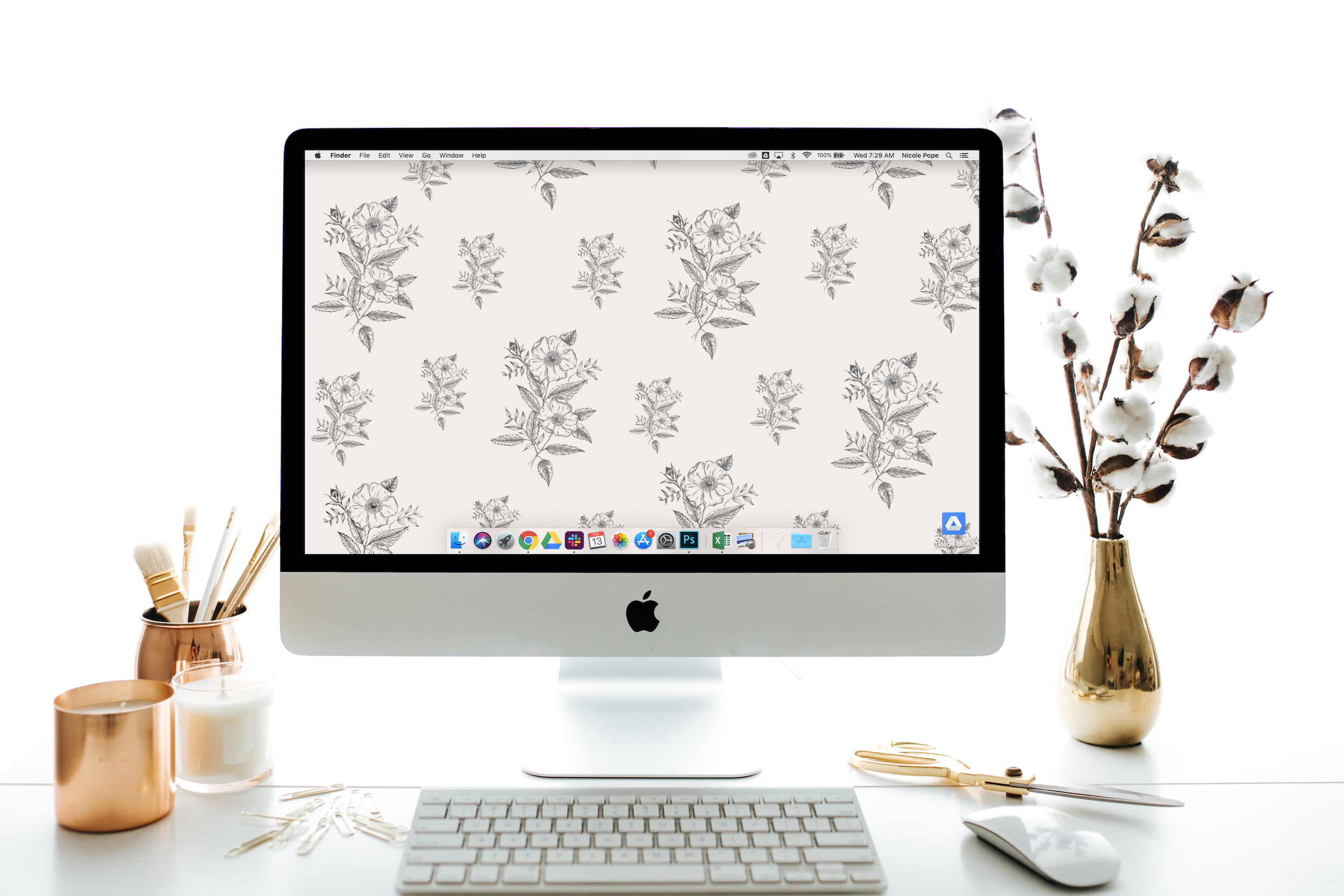 Lily & Val hand-drawn floral desktop download