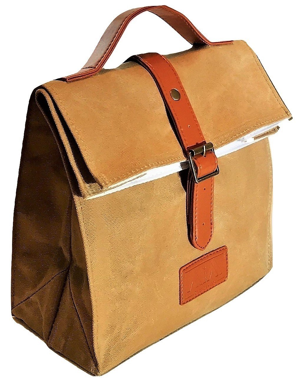 Waxed canvas lunch tote for him or her