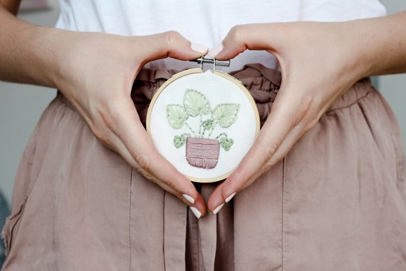Beginner kit for these adorable plant embroidery hoops