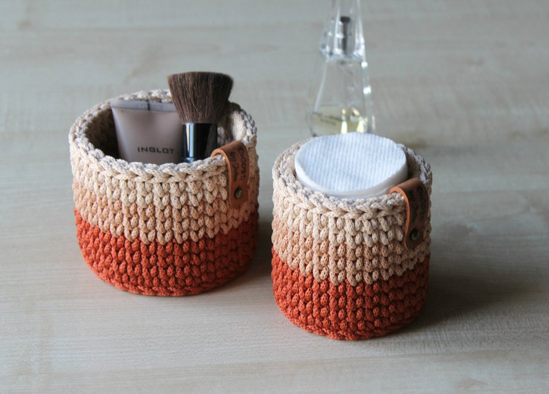 crochet storage basket perfect for bathroom and vanity