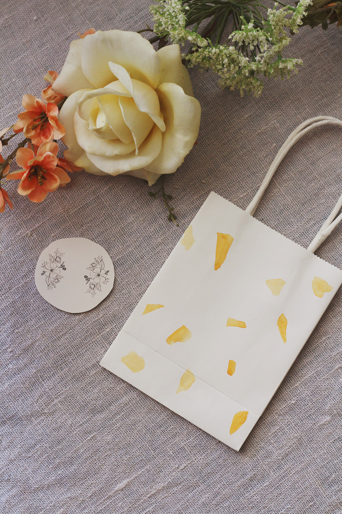 Custom Terrazzo inspired favor bag with printable favor labels