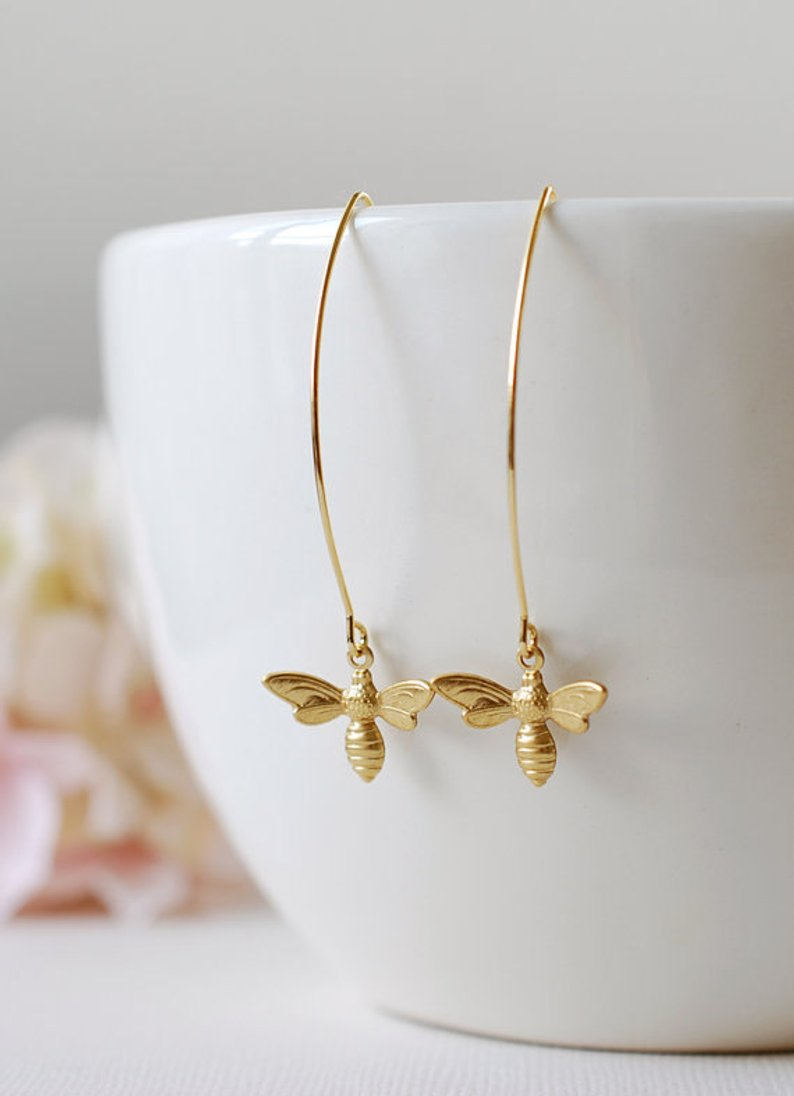 Gold Bee Earrings for a spring wardrobe refresh...because we love bees!