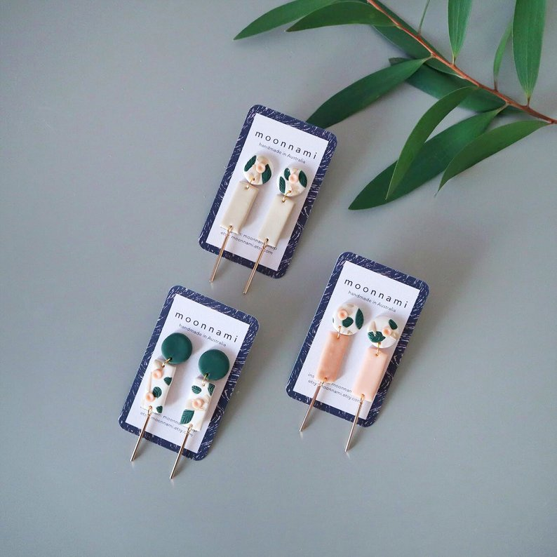 Beautiful Handmade Clay Earrings For Spring