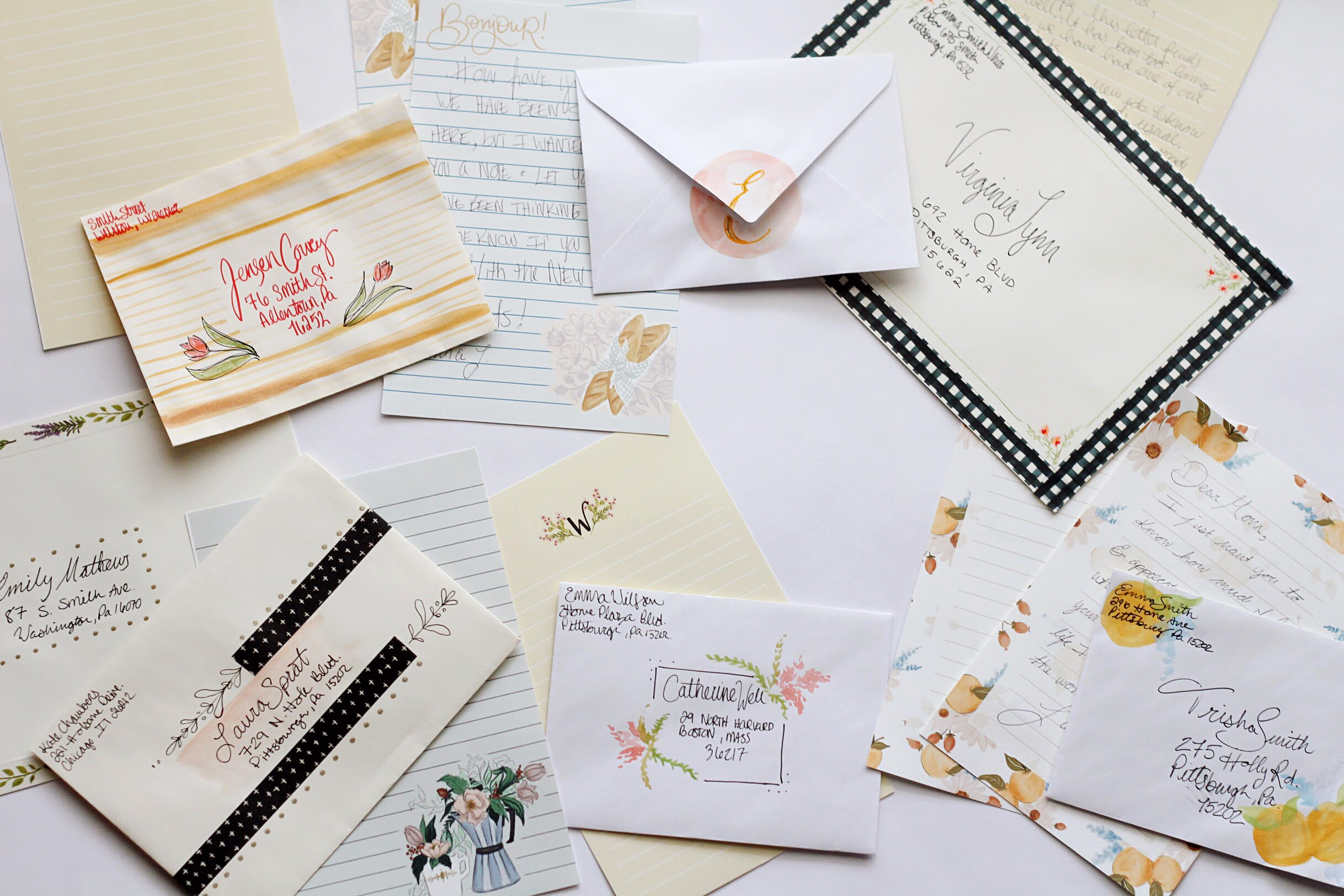 Decorating Envelopes to Match stationery sheets