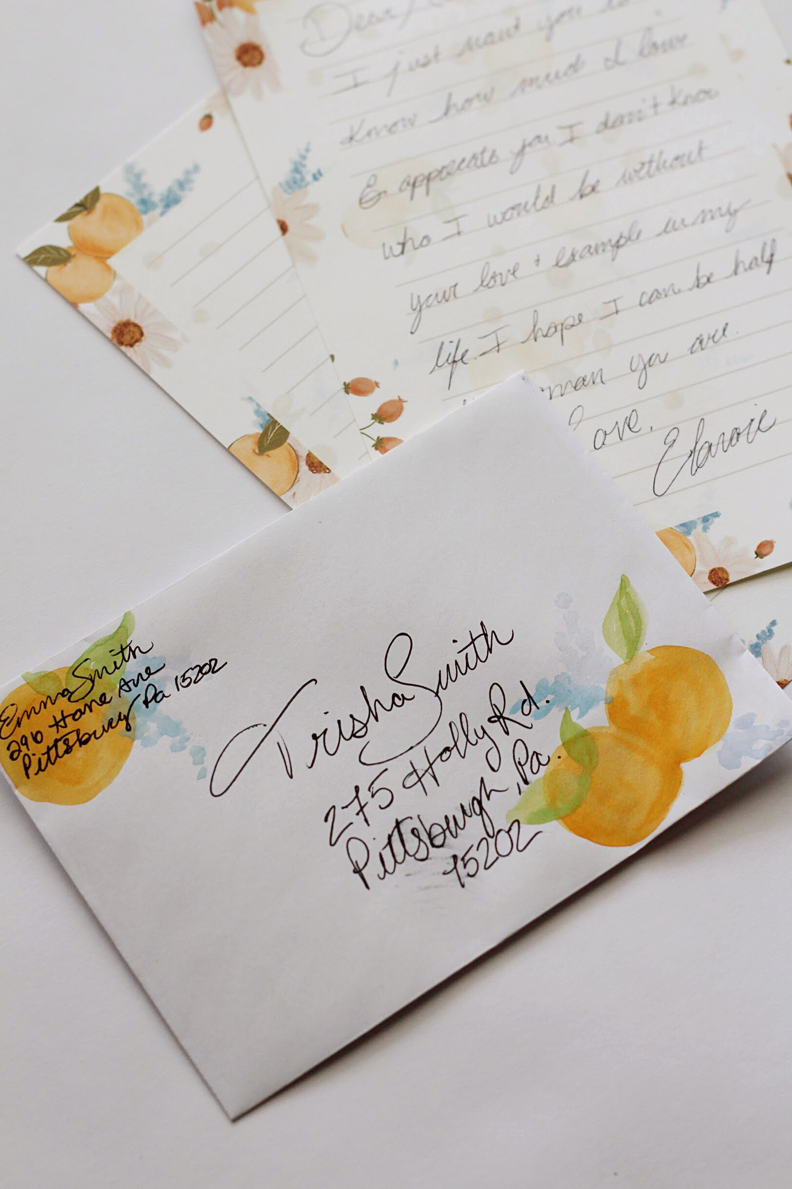 clementine watercolor envelope DIY