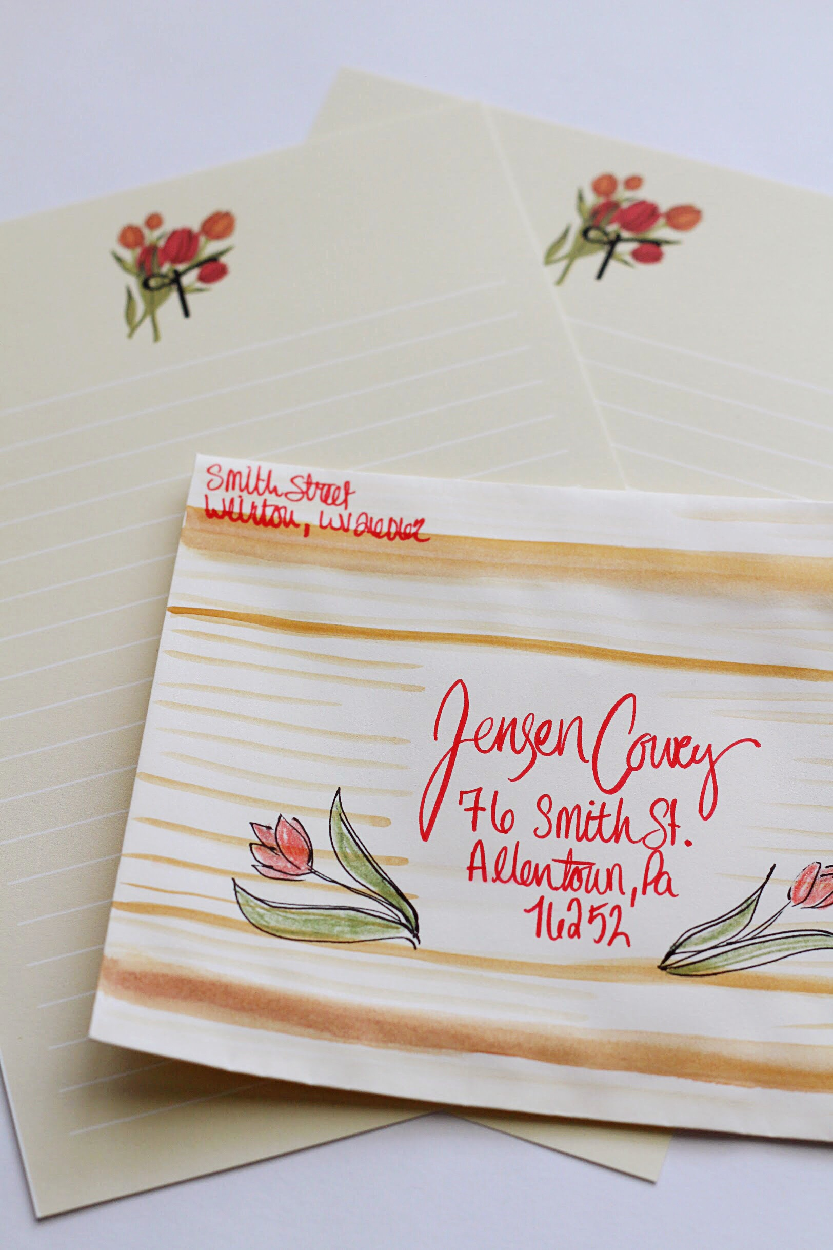 Tulip Monogram DIY Envelope and Stationery