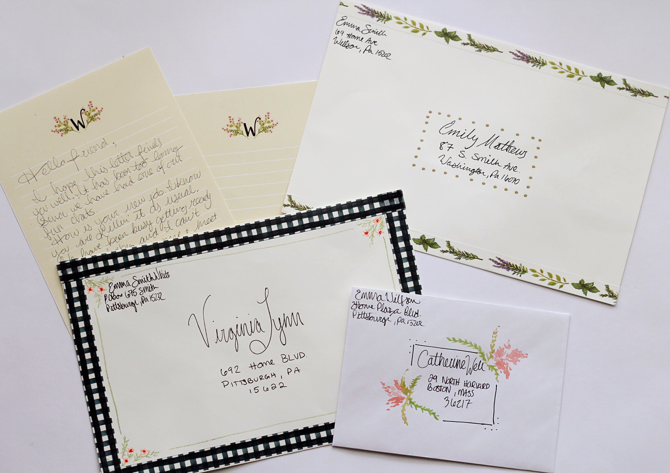 Printable Stationery Sheets and DIY Envelope Decorating