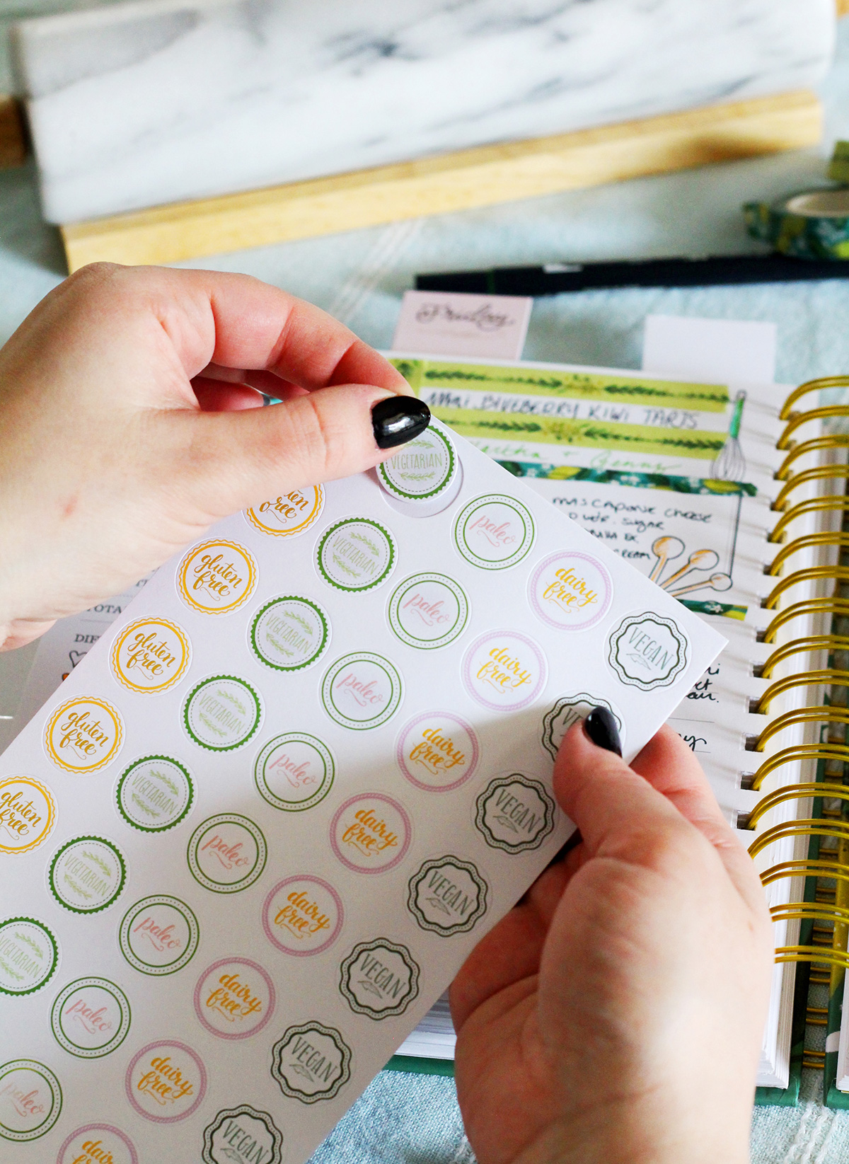 Dietary Restriction Stickers for your Keepsake Kitchen Diary