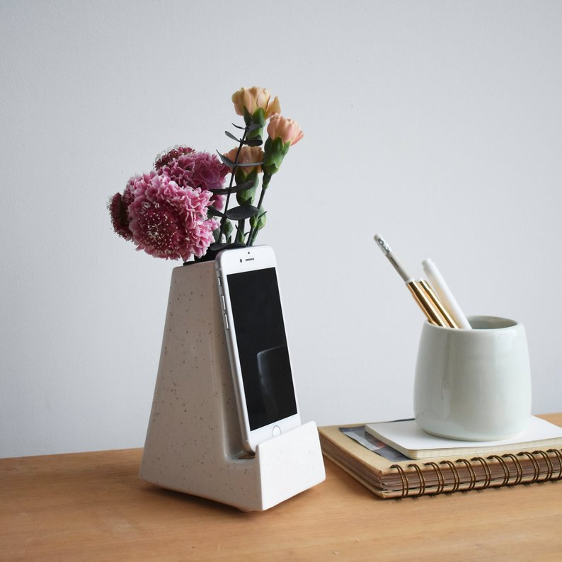 Beautiful Handmade Ceramic vase and charging station.