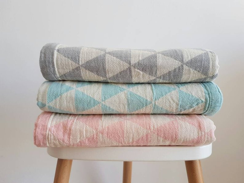 Beautiful Cotton Geometric throws for the Nursery