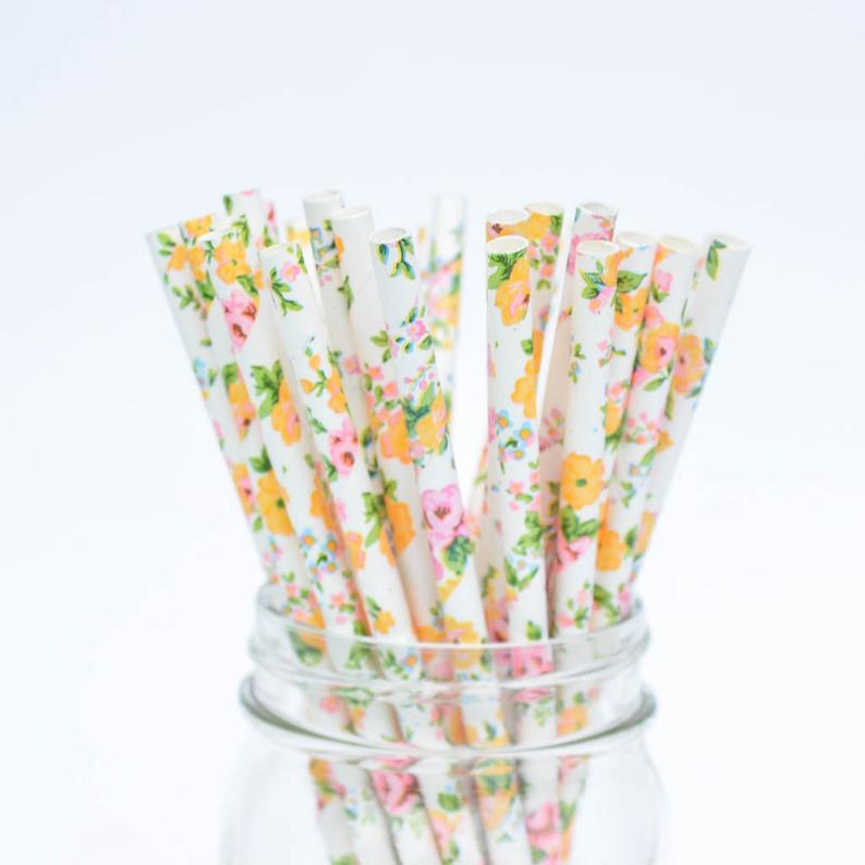 Floral Paper Straws Pack