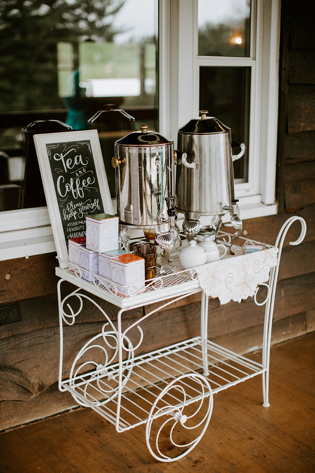 Tea and coffee station - tea party baby shower inspiration - Harney & Sons teas
