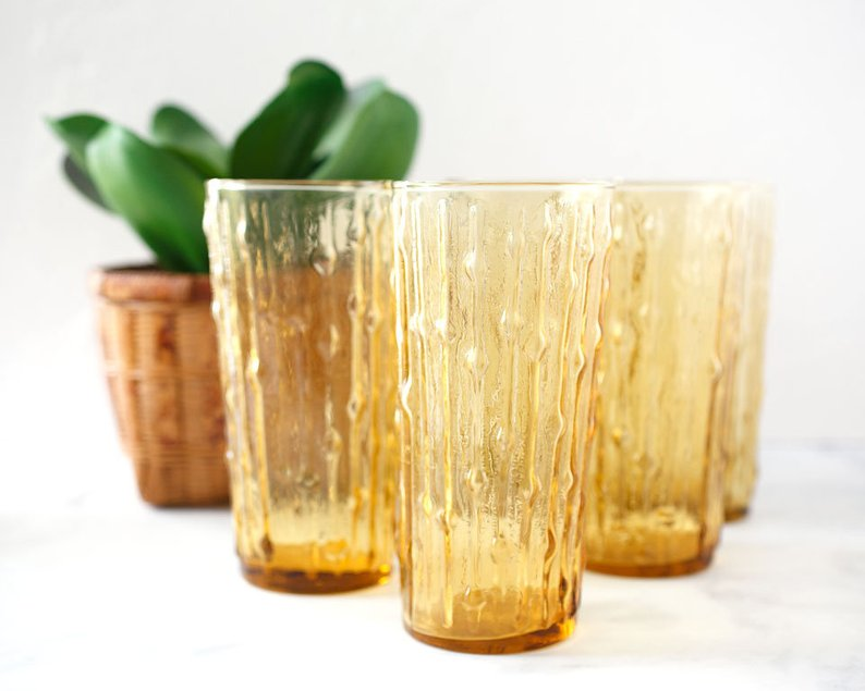 Vintage Golden Tumbler set- Perfect to add color to yoru table scape or make everyday use more beautiful