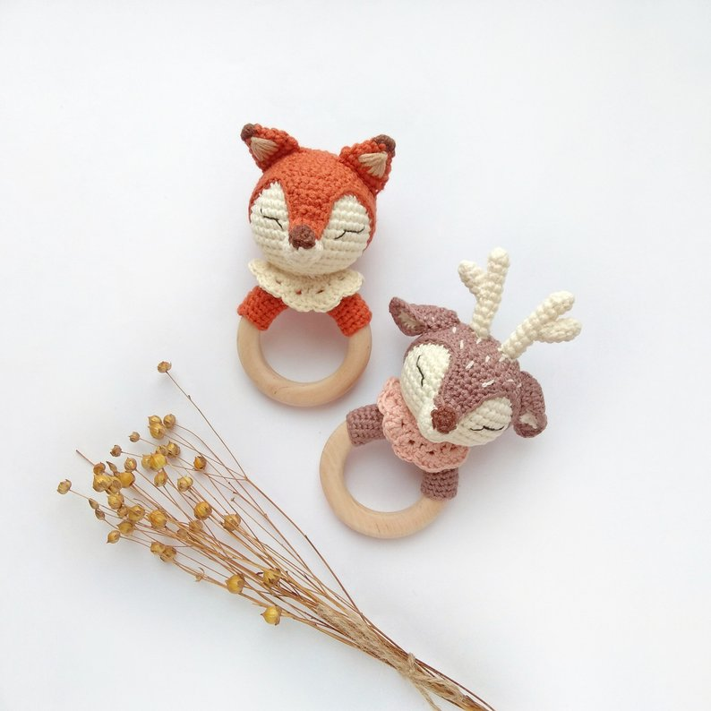 Fox and Deer Organic Baby Rattle/Teether