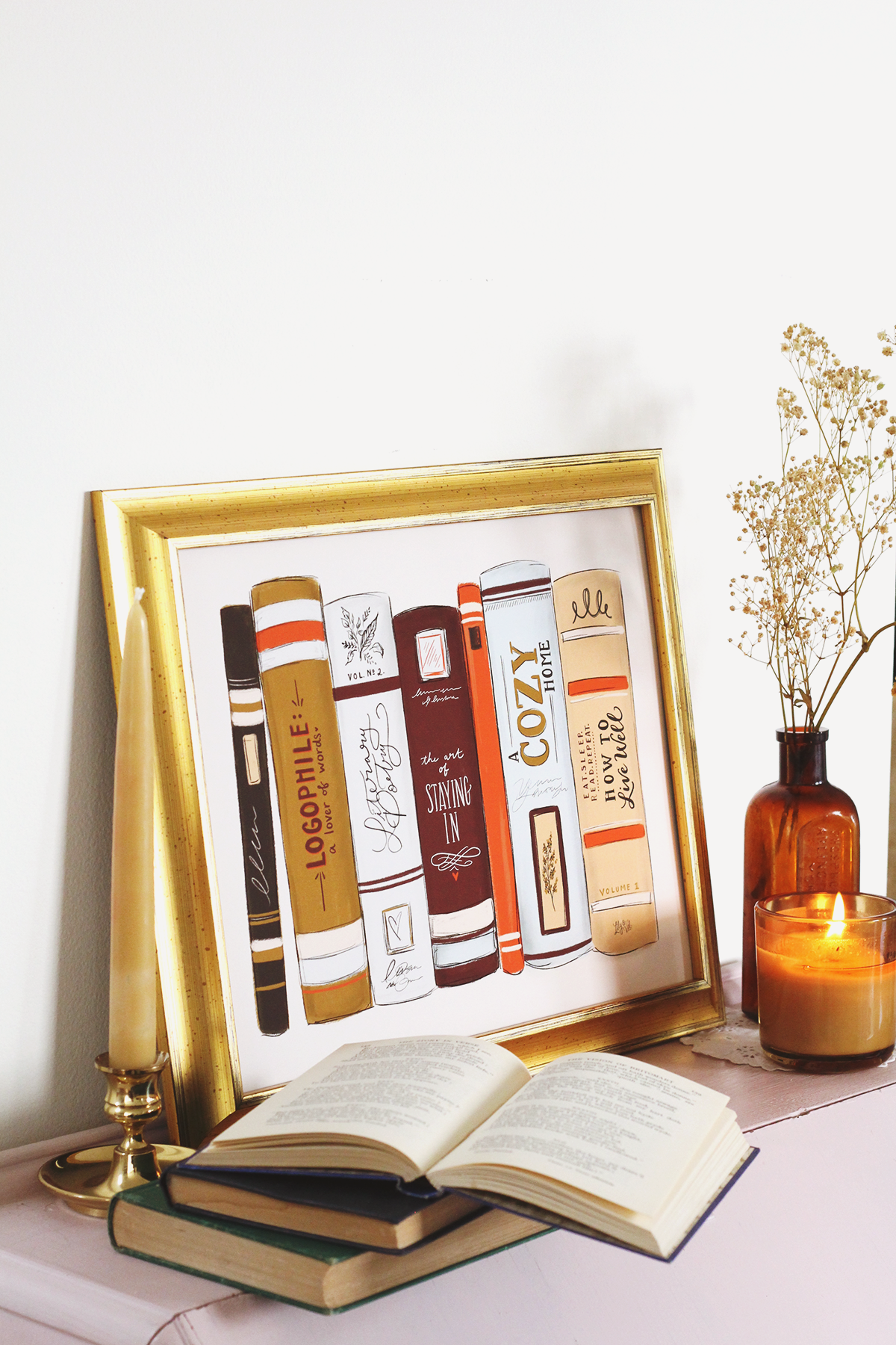 Fall Art for the Book Lover - Book Spine Illustration