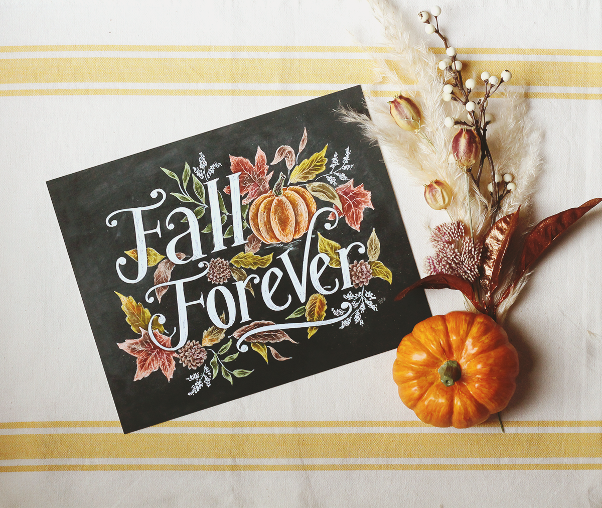 Fall Forever Chalk Art Print - Fall Decorating