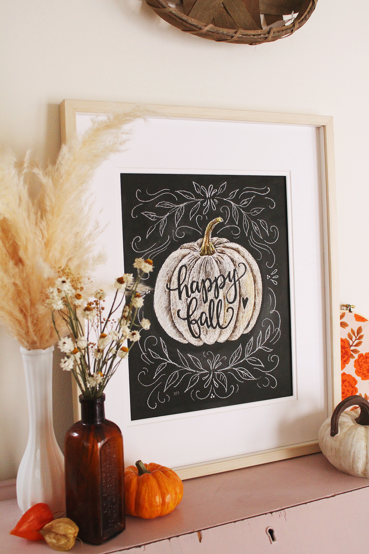 Happy Fall Hand Lettered Chalk Art Print