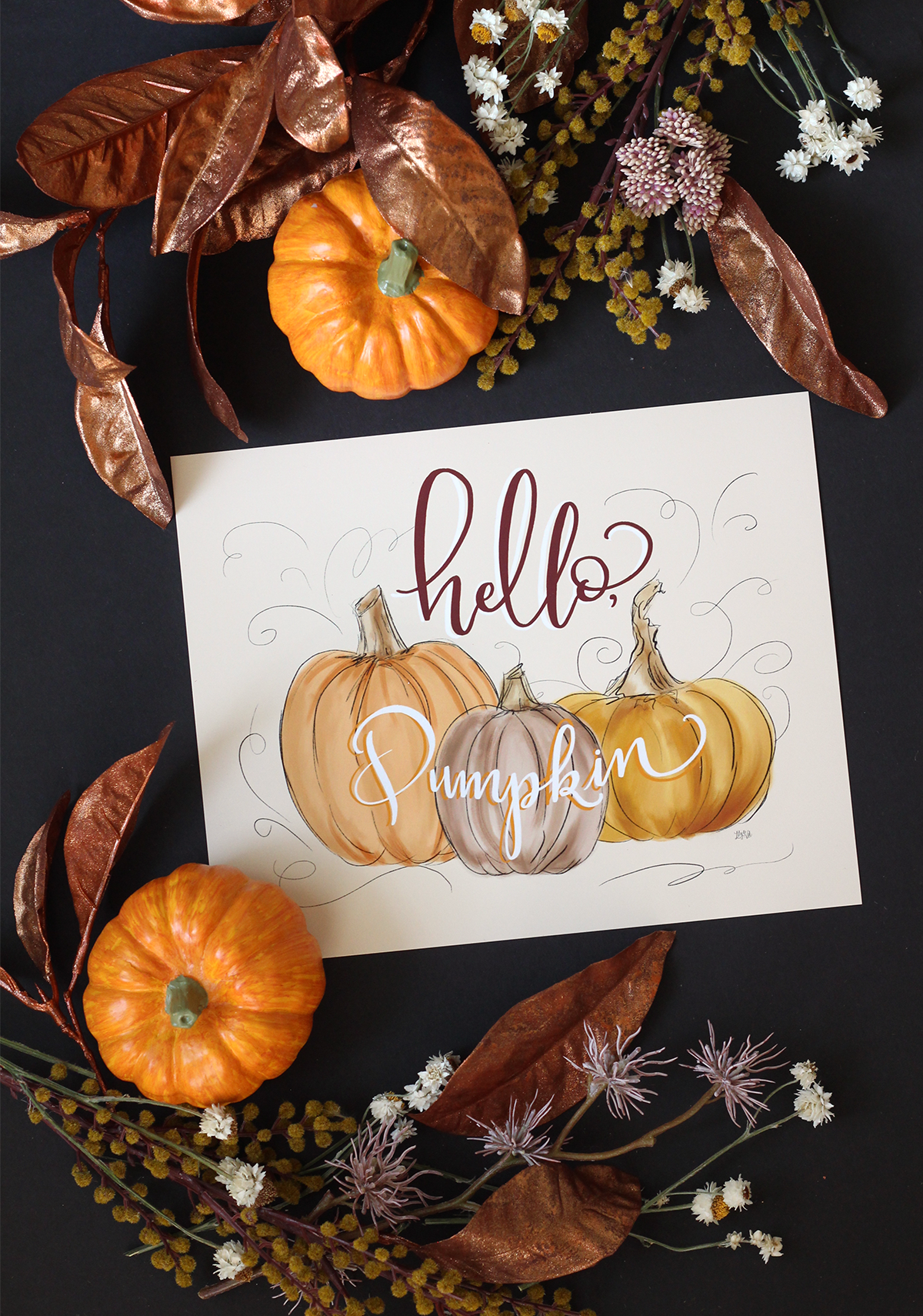 Hello Pumpkin Fall Art Print