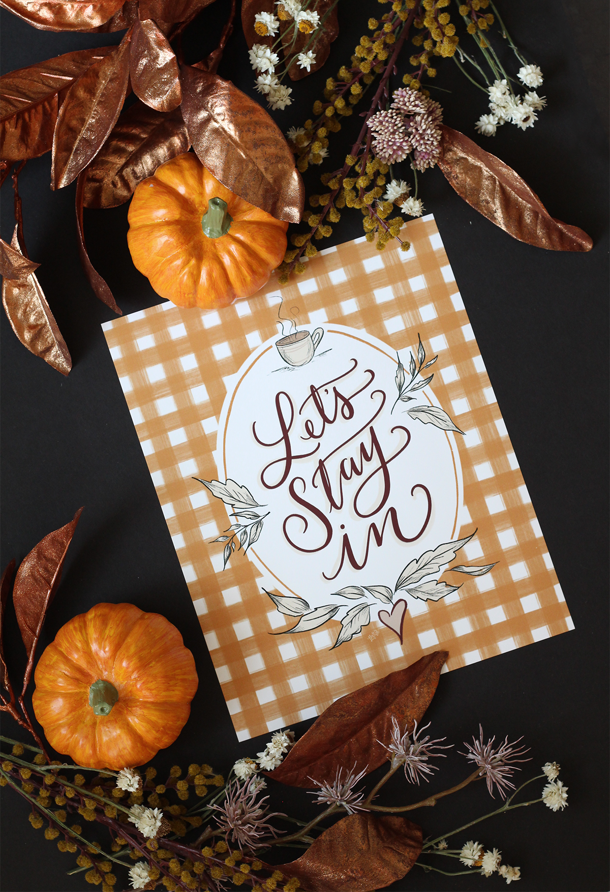 Let's Stay In - Gingham Fall Wall Art