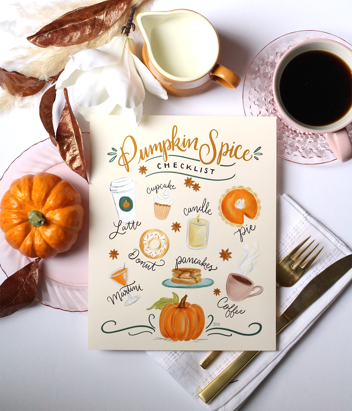 Pumpkin Spice Checklist Art for the Pumpkin Spice Lover