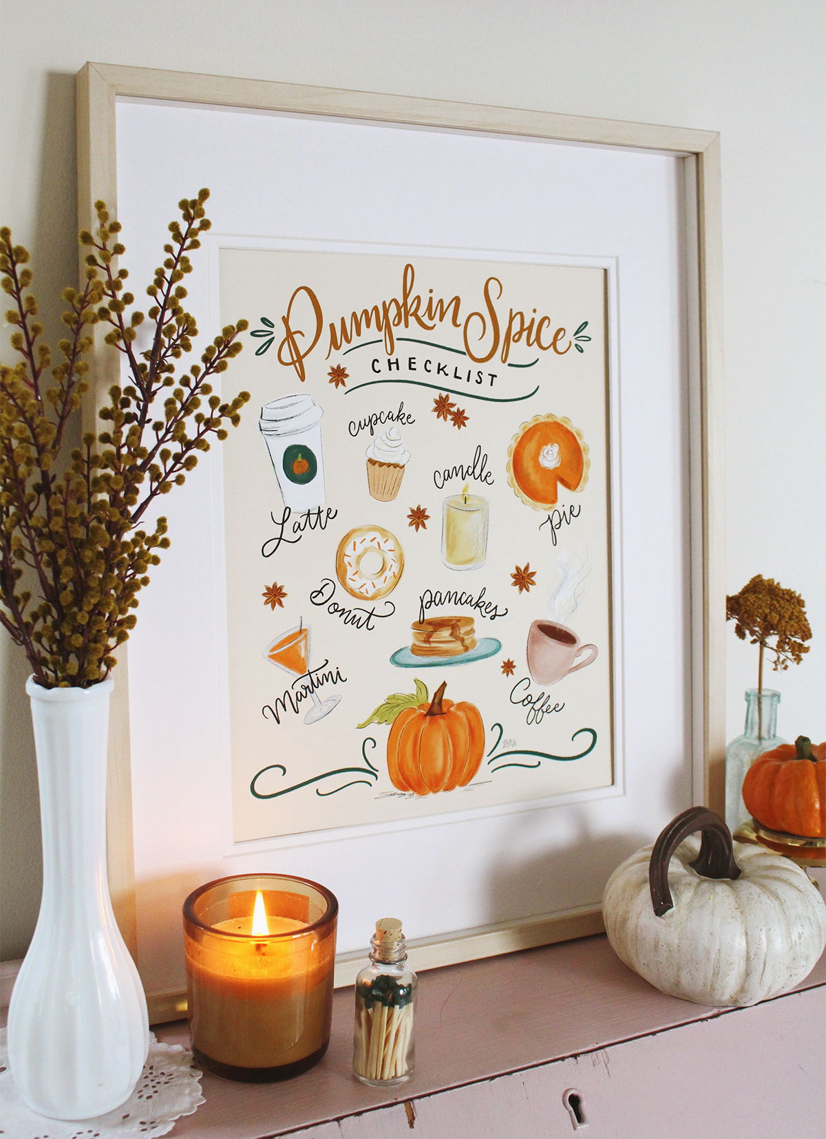 Pumpkin Spice Checklist Art Print to Decorate Your Home for Fall