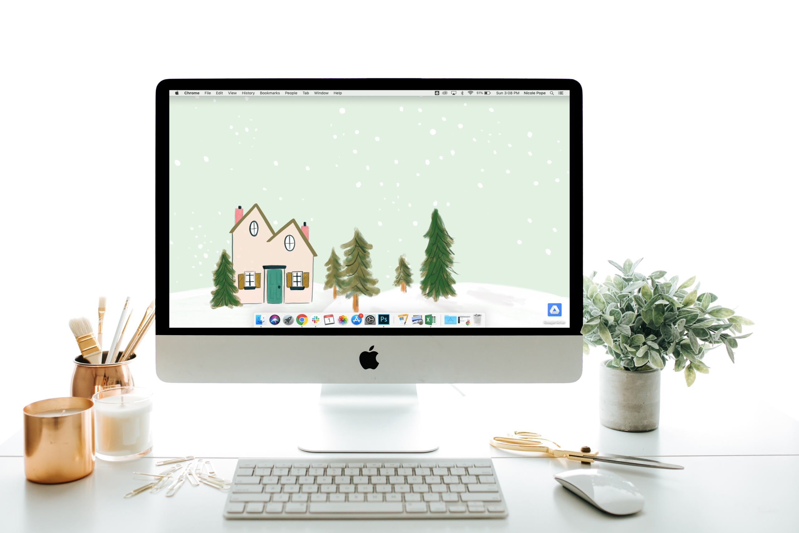 "December's ""Snowy Day"" Desktop Download by Lily & Val"