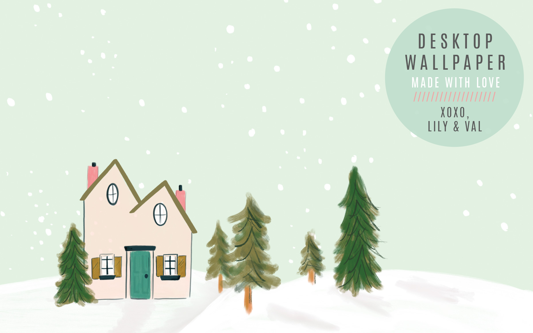 Winter Snow scene desktop background hand-drawn by Valerie McKeehan