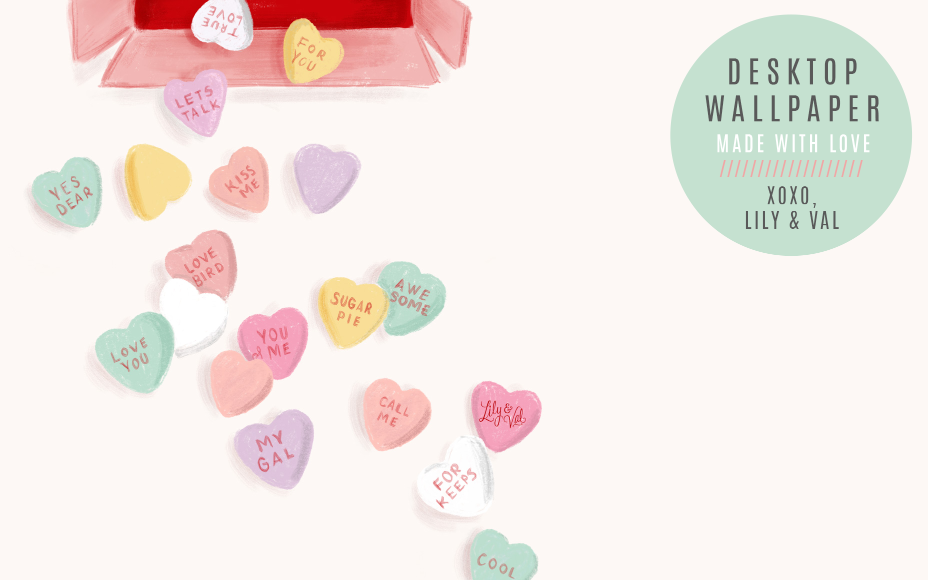 Valentine's Day desktop background candy hearts