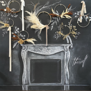Dried Floral and Chalkboard Wall Installation