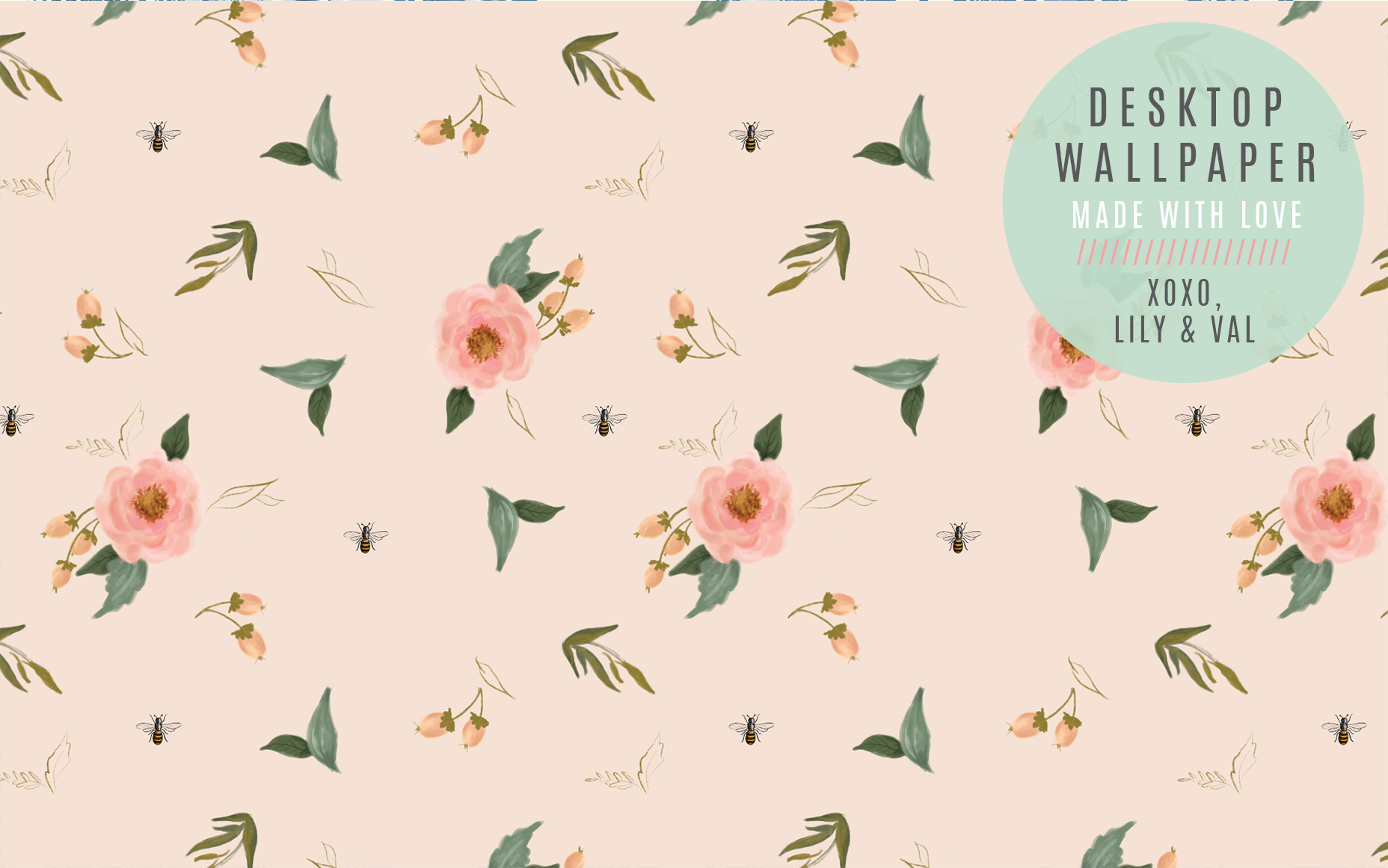 Free March Desktop with Hand-drawn florals and bees by Valerie McKeehan