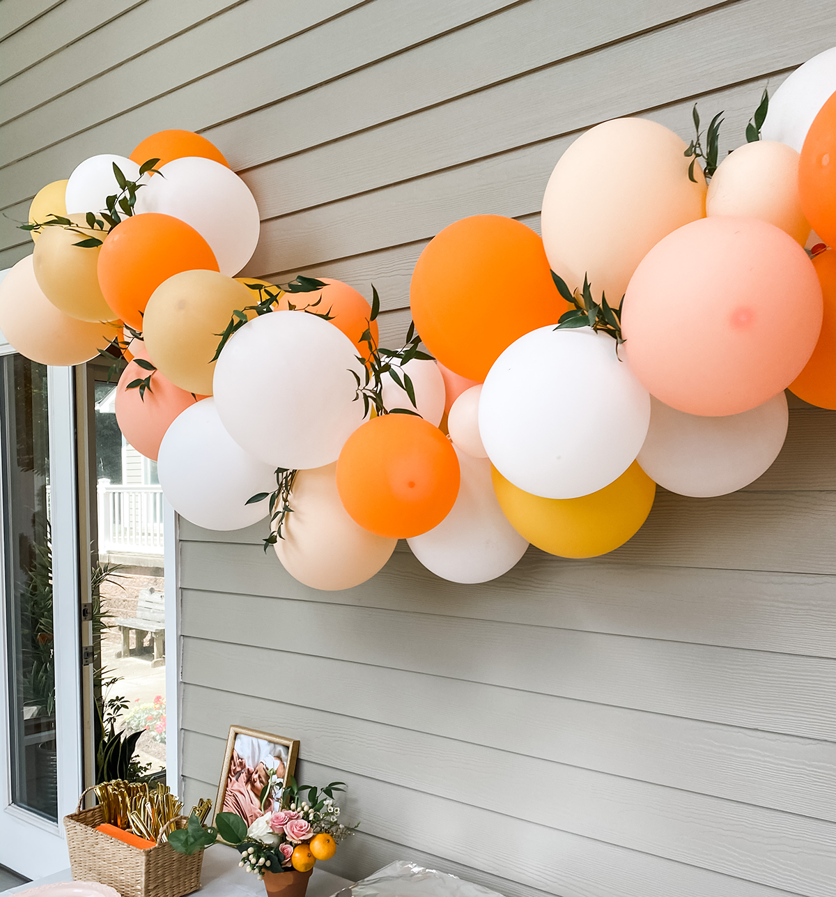 "Balloon Garland for ""Little Cutie"" First Birthday Party"