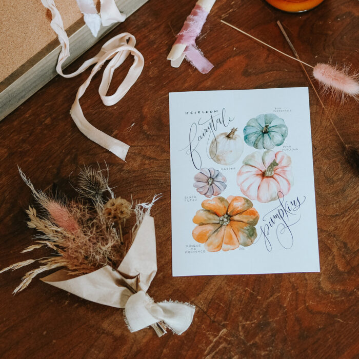 Dried Floral Bouquet + Hand Lettered Fall Print Collaboration