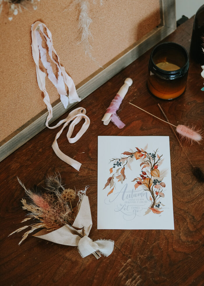 Dried Floral Bouquet + Hand Lettered Fall Print